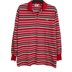 Lacoste Men's Long Sleeve Red Striped Polo Size 4